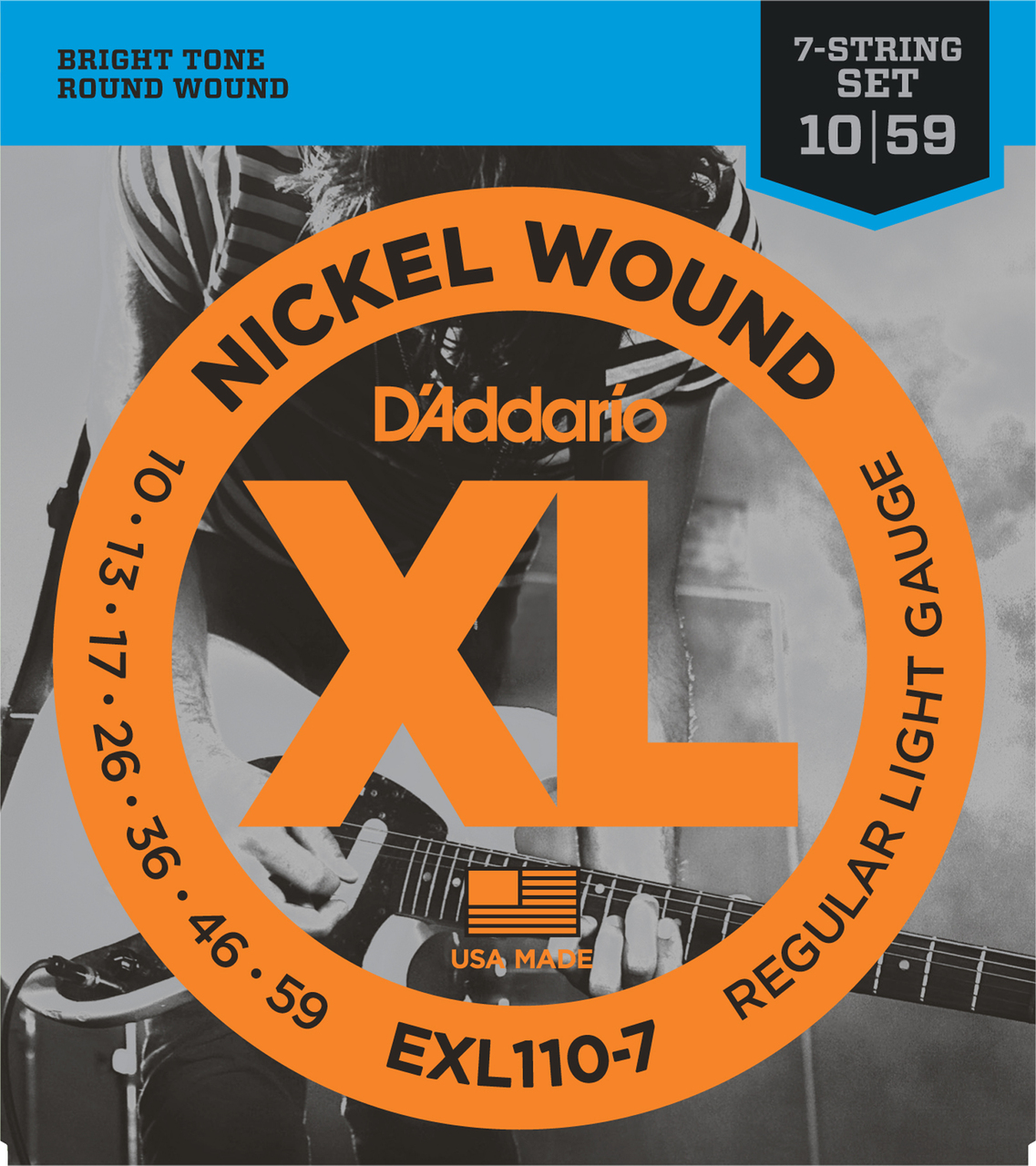D'addario EXL110-7 Regular Light Seven String Electric Guitar Strings
