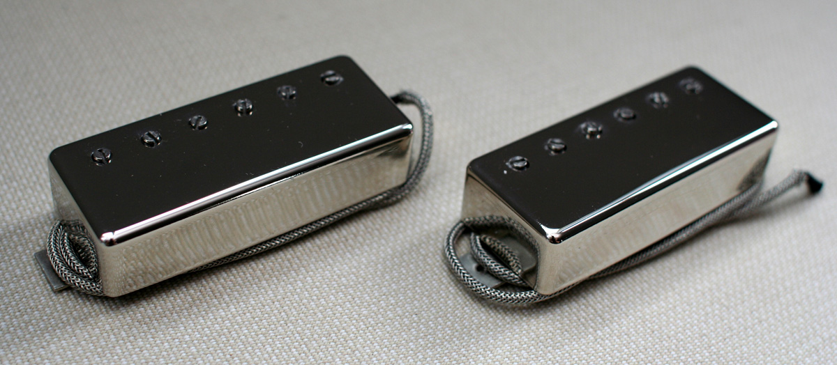 Lindy Fralin Mini-Humbucker Stock pickup set - polished nickel 6.5k/10k vintage braided lead