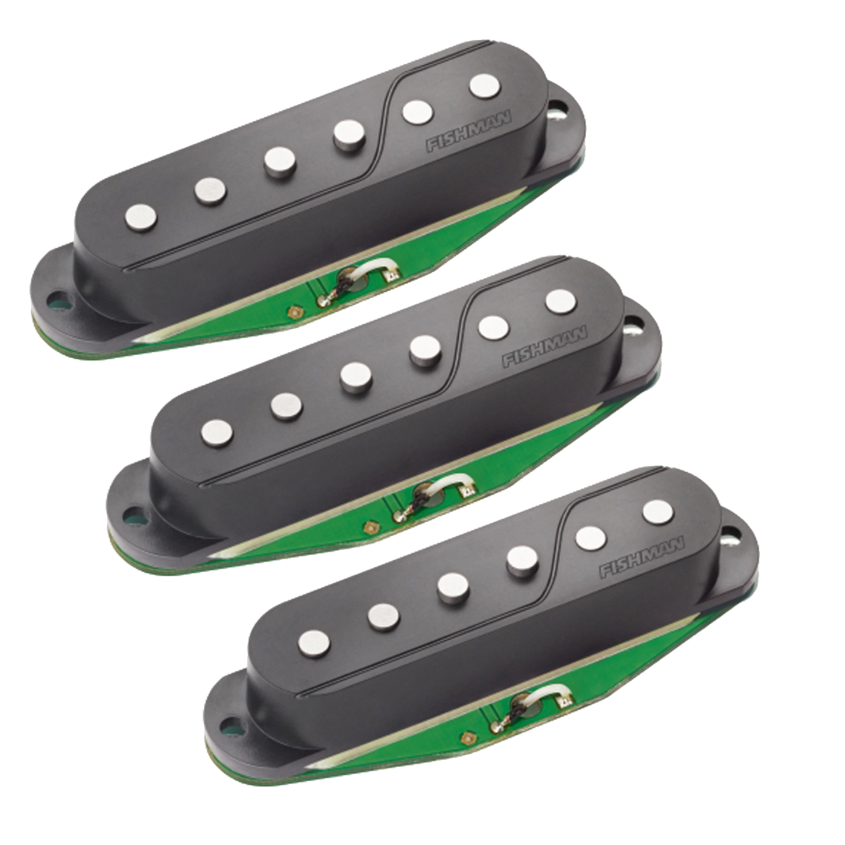 Fishman Fluence Set of 3 Single Width Pickups for Strat Black