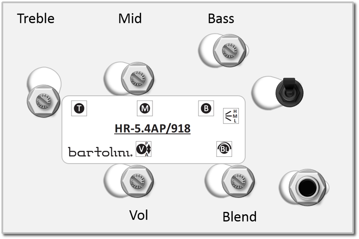 Bartolini HR-5.4AP Pre-Wired 3 Band EQ Active/Passive Vol, treble, mid, bass, blend and 3 way switch