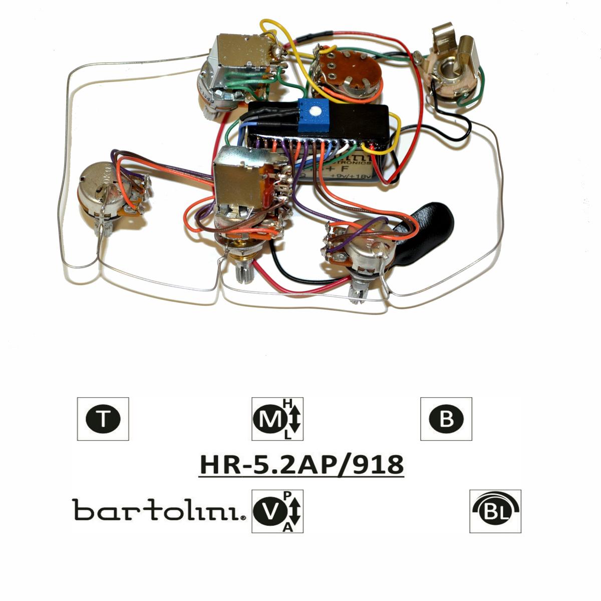 Bartolini HR-5.2AP Pre-Wired 3 Band EQ Active/Passive Vol, blend, treble, bass, push/pull mid