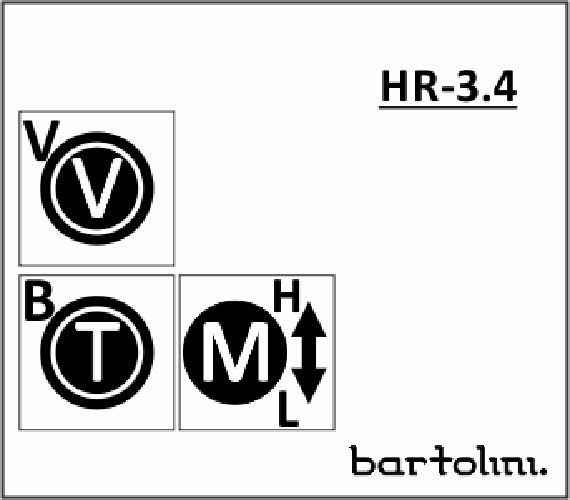 Bartolini HR-3.4 Pre-Wired 3 Band EQ Stacked  Vol, Stacked Treb / Bass, 2 Freq Push/Pull Mid