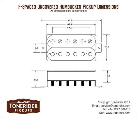 Tonerider AC2 Alnico II Bridge Humbucker - white, F-spaced