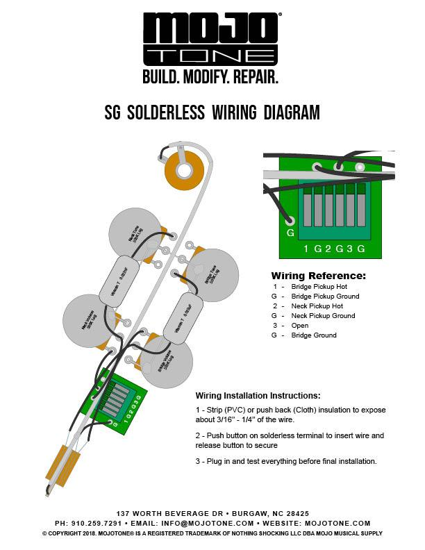 Mojotone SG Solderless Wiring Harness