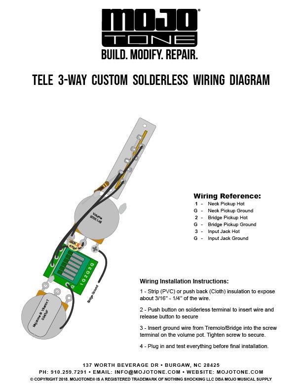 Mojotone Tele Custom Solderless Wiring Harness