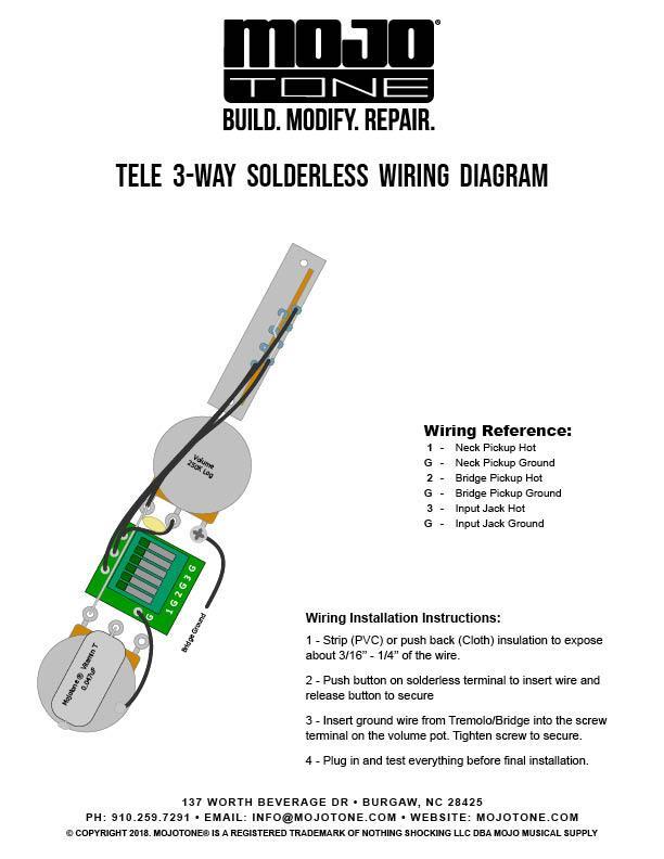 Mojotone Thinline Tele Solderless Wiring Harness