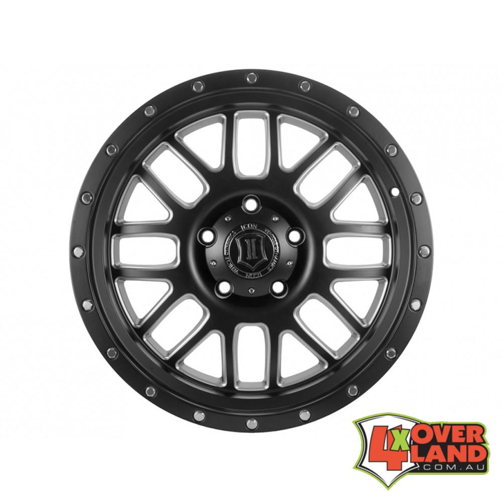 "20"" Alpha Wheels Satin Black w/Milled Windows for Ford"
