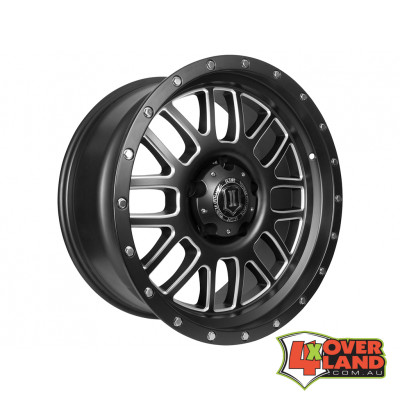 "20"" Alpha Wheels Satin Black w/Milled Windows for Ford"