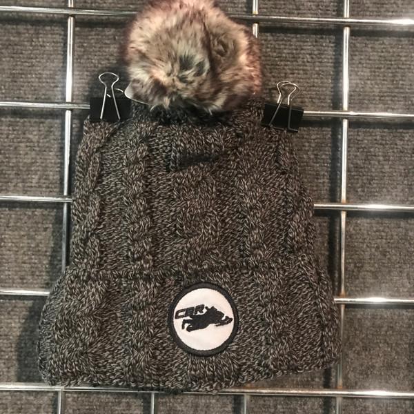 Gray Pom Fur Lined