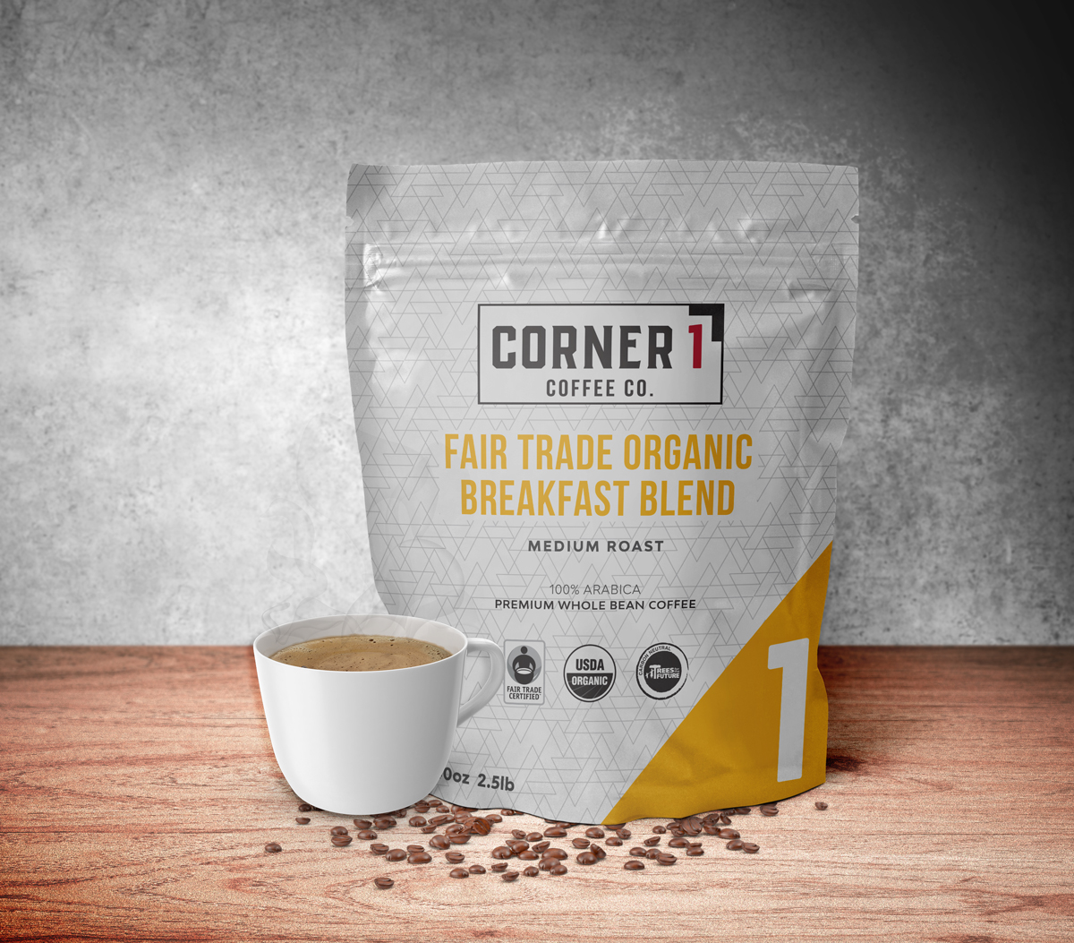 Fair Trade Organic Breakfast Blend Whole Bean Coffee