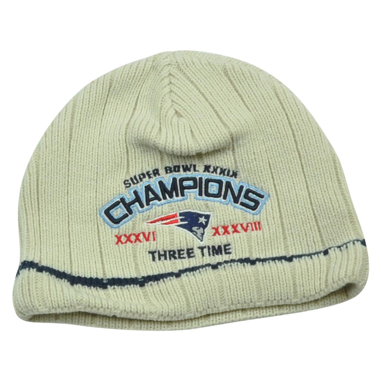 c075c6bf NFL New England Patriots Stark 3 Time Super Bowl Champions Cuffless Knit  Beanie