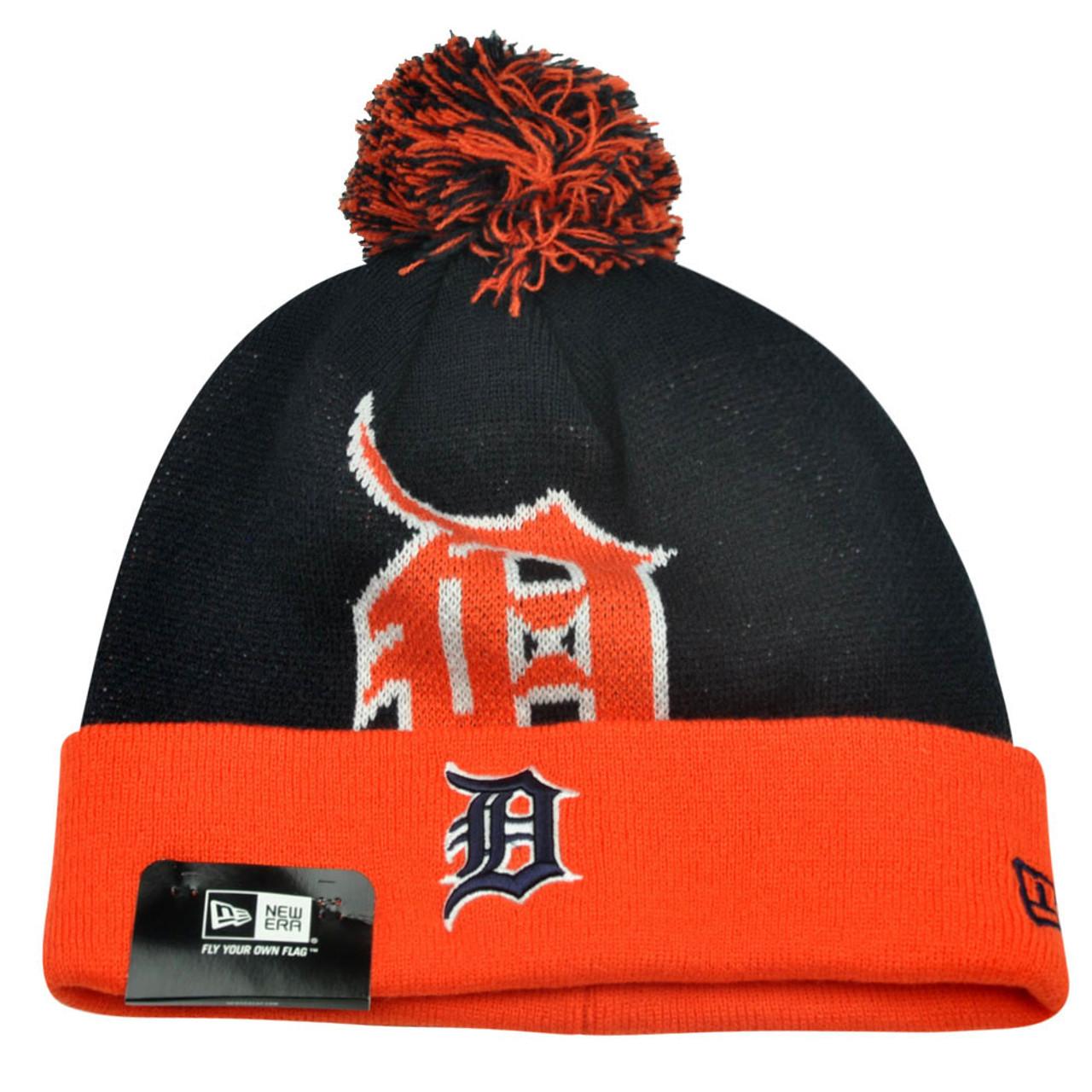 213db03cd MLB New Era Detroit Tigers Woven Biggie 2 Cuffed Beanie Winter Pom Warm  Knit Hat