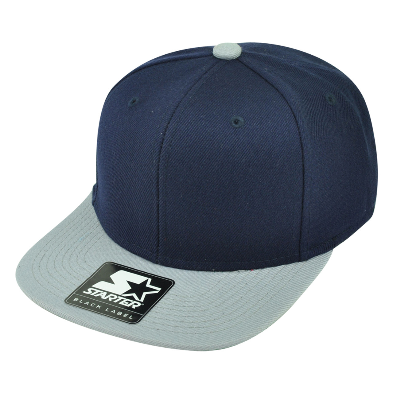 5a61b6711c7743 Starter Solid Plain Blank Flat Bill Snapback Hat Cap Adjustable 2 Tone Navy  Grey - Cap Store Online.com