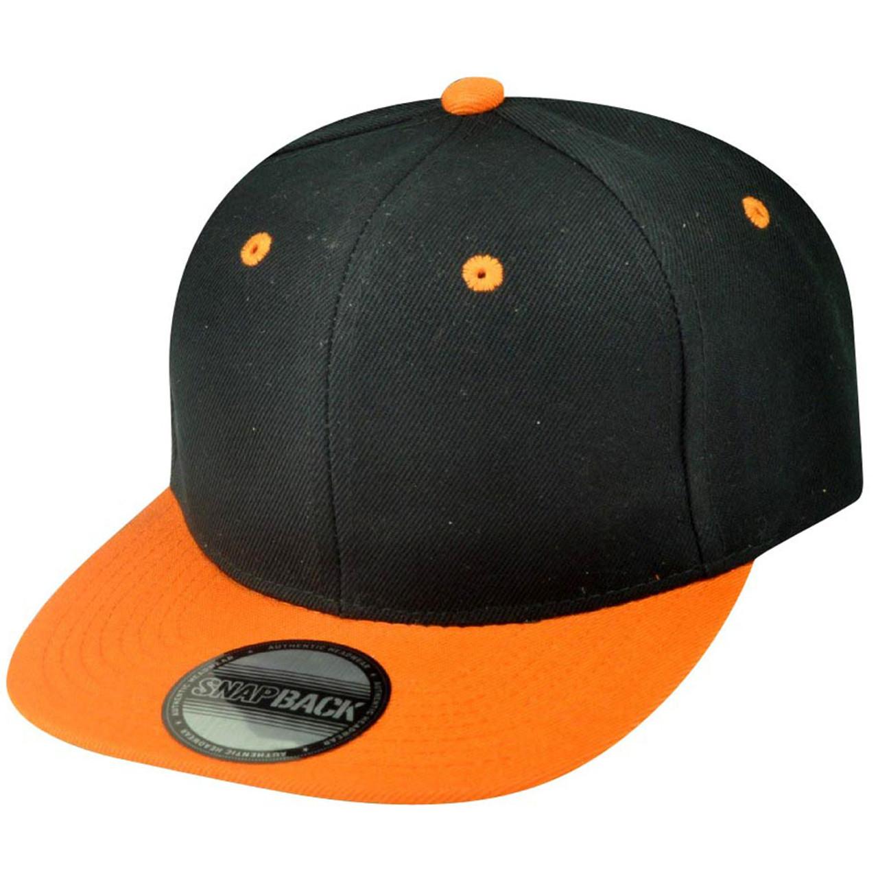 300fb4f2 Blank Plain Two Tone Black Orange Adjustable Snapback Flat Bill Acrylic Hat  Cap - Cap Store Online.com