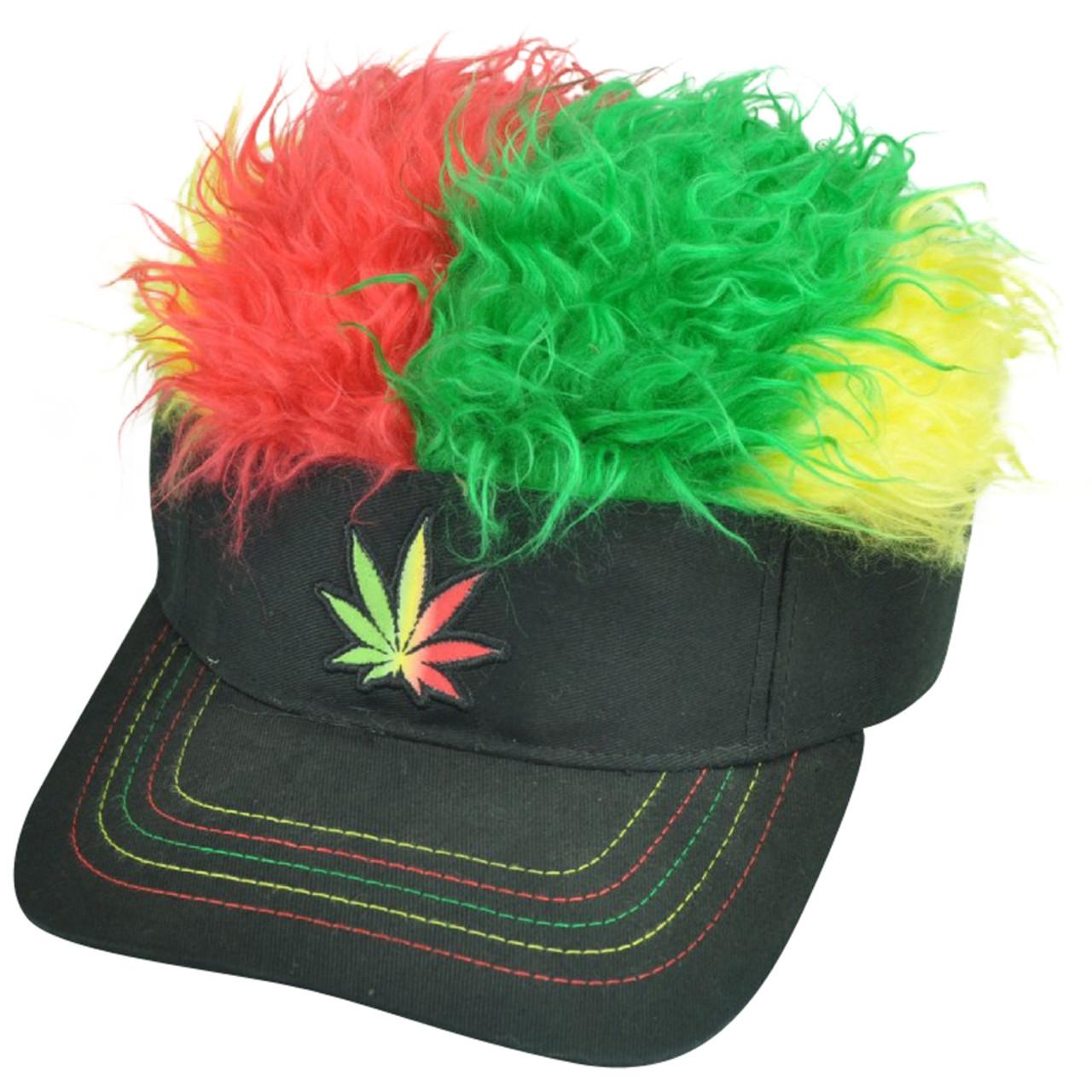 8e0c74fb40a Marijuana Cannabis Jamaica Flair Faux Fur Hair Visor Adjustable Hat Sun  Weed Cap