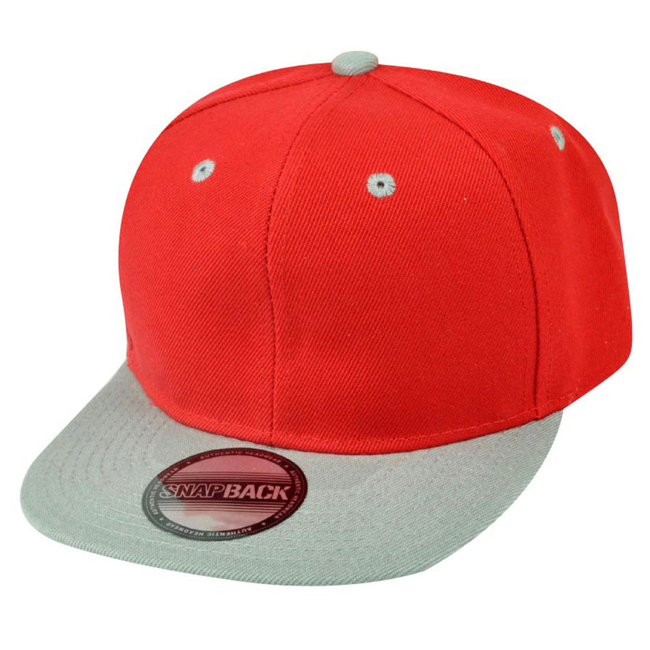 182d770e6e850 Blank Plain Two Tone Red Grey Adjustable Snapback Flat Bill Acrylic Hat Cap