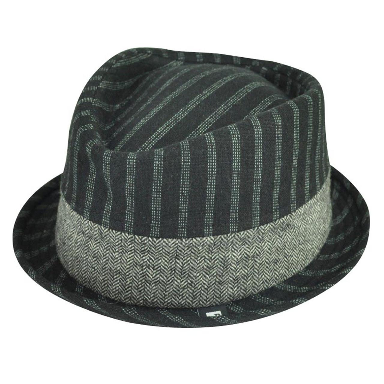 bd05c740aac10d Block Headwear Brand Pinstripe Herringbone Blk Fedora Stetson Trilby Hat  Medium - Cap Store Online.com