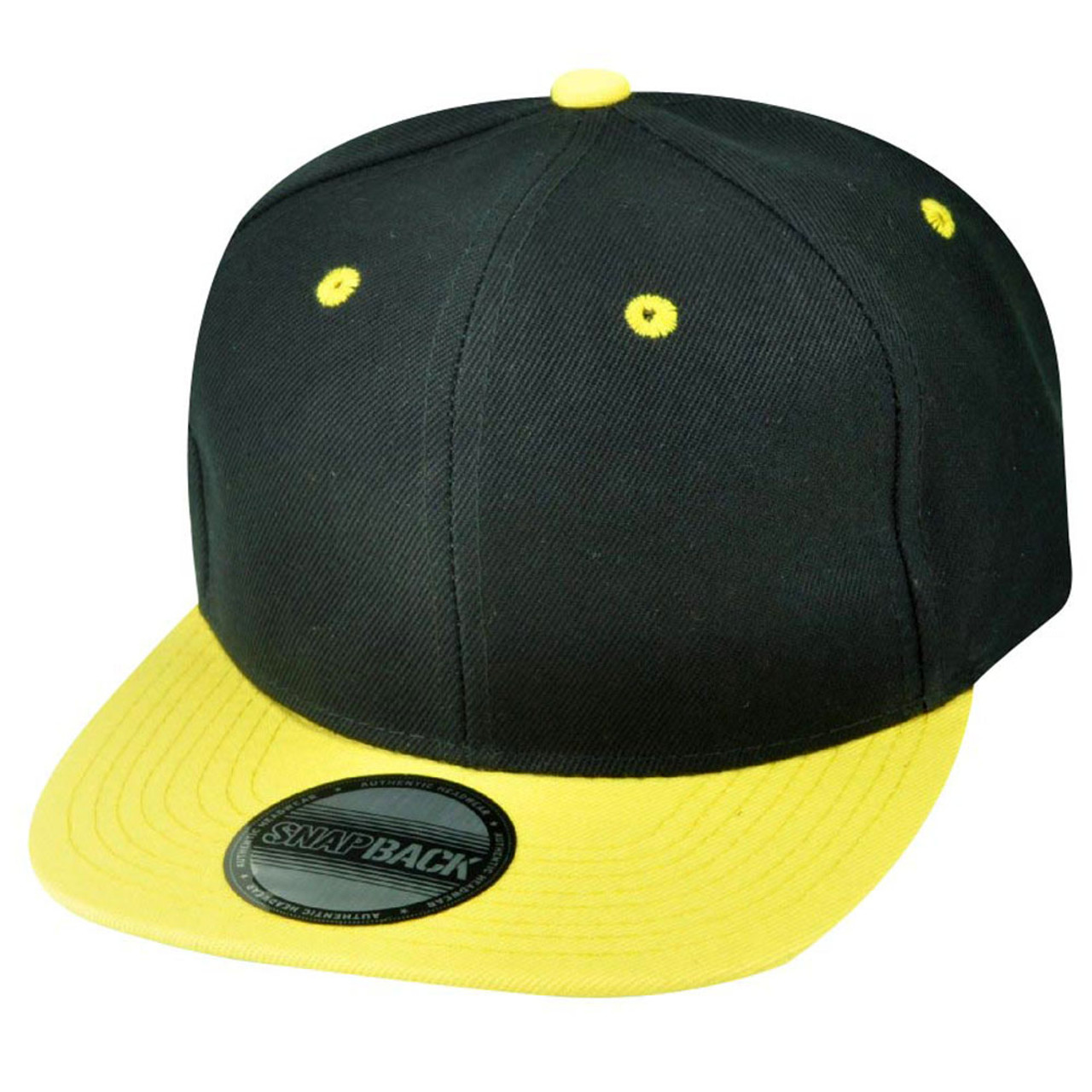 691d08ee8612e Blank Plain Two Tone Black Yellow Adjustable Snapback Flat Bill Acrylic Hat  Cap - Cap Store Online.com