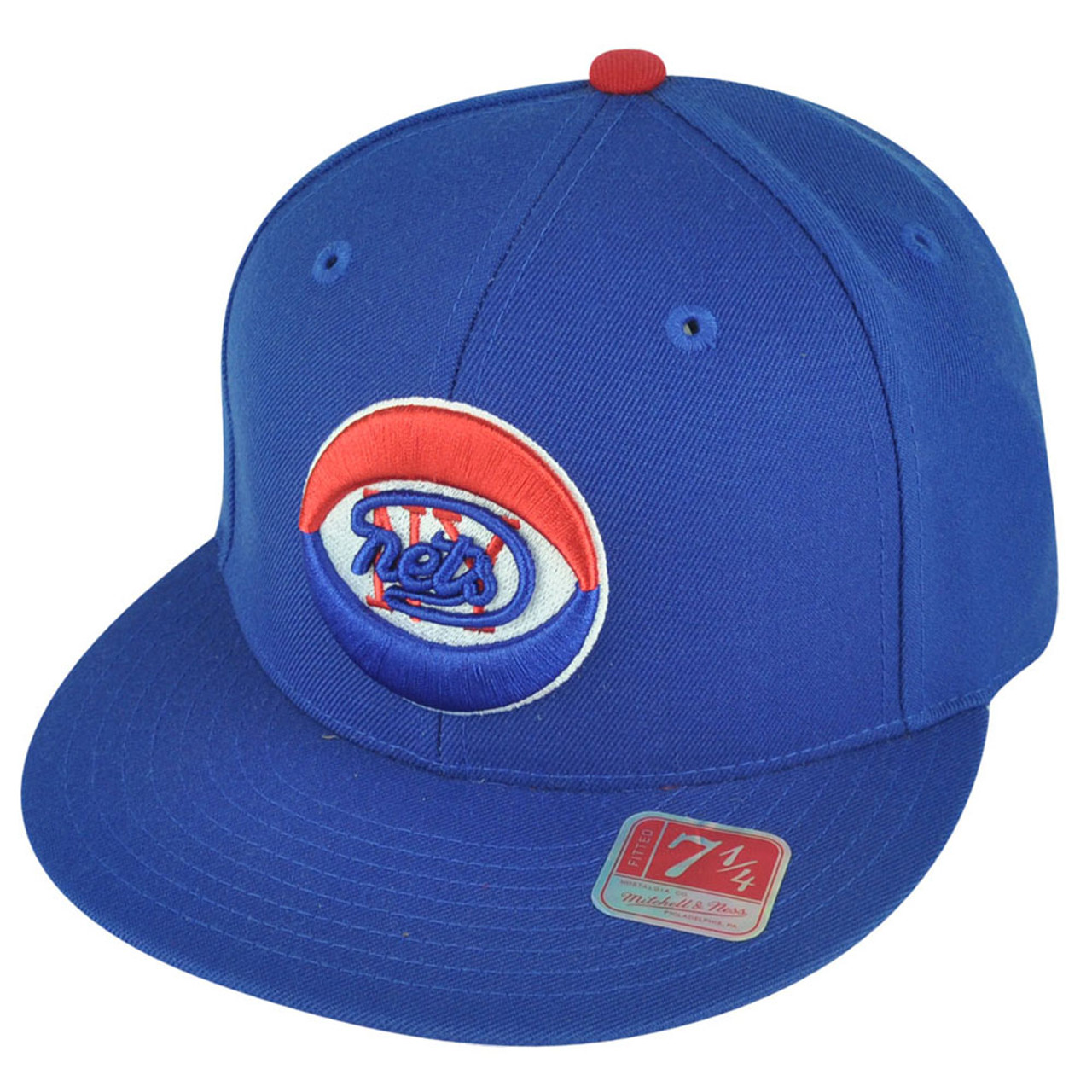 88f11984 ABA Mitchell Ness TK07 New York Nets Team Second Fitted Flat Bill Hat Cap