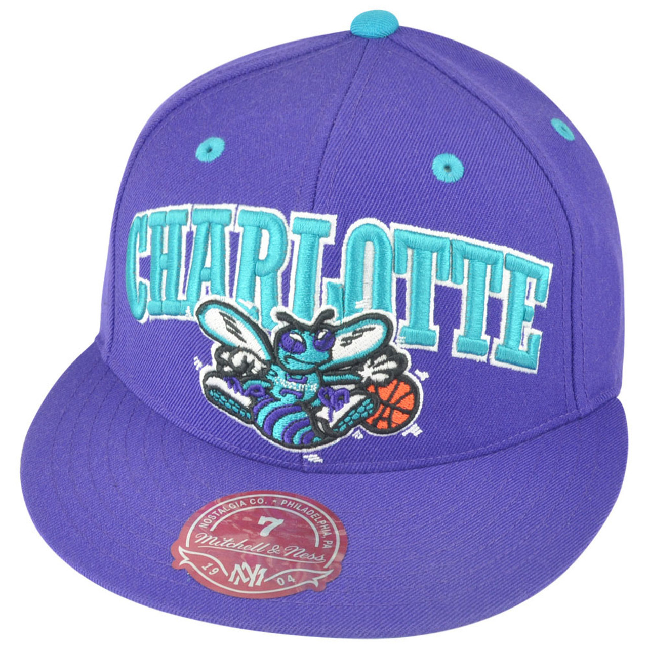 9c5c631c NBA Mitchell Ness Charlotte Hornets TU13 Arch Logo Fitted Hat Cap