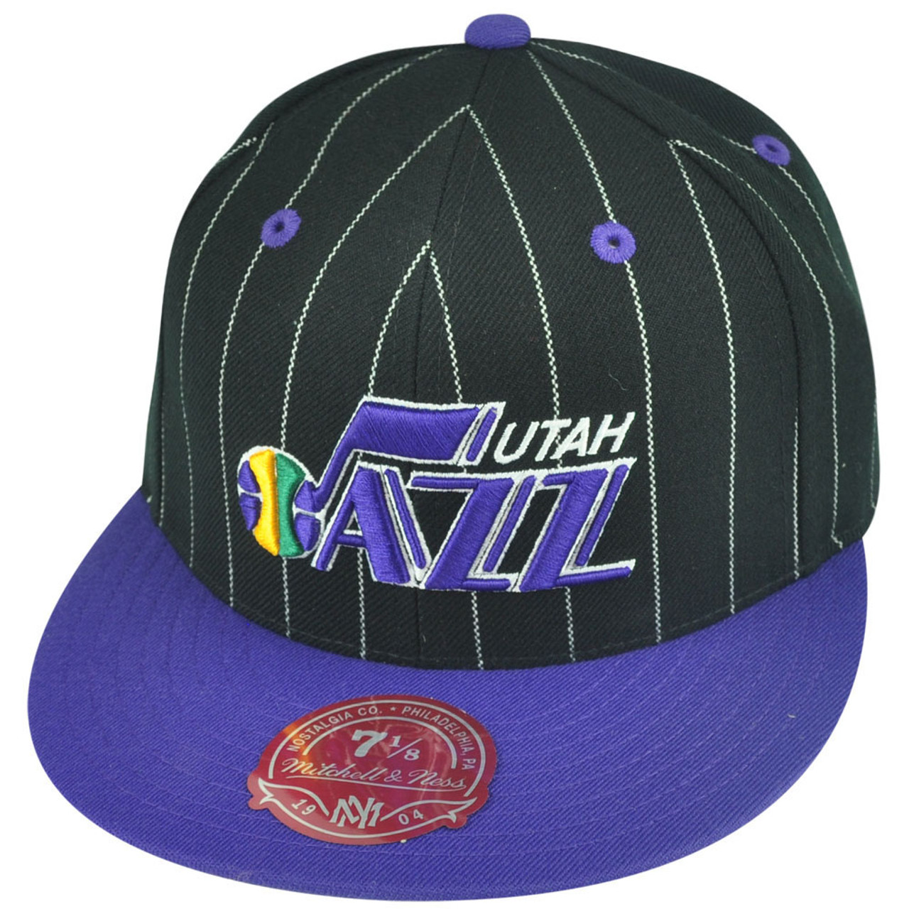 super popular d1cb5 aa62c NBA Mitchell Ness Utah Jazz TS52 Pinstripe Fitted Flat Bill Hat Cap