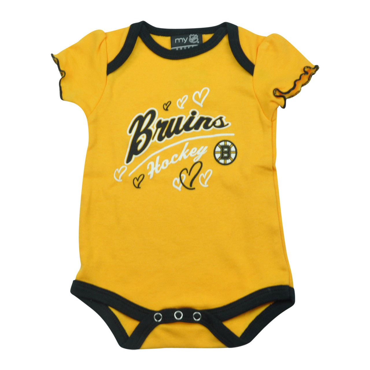 sale retailer 55af7 bd2d7 NHL Boston Bruins Owl Creek Infant Baby Girls Bodysuit Yellow Creeper