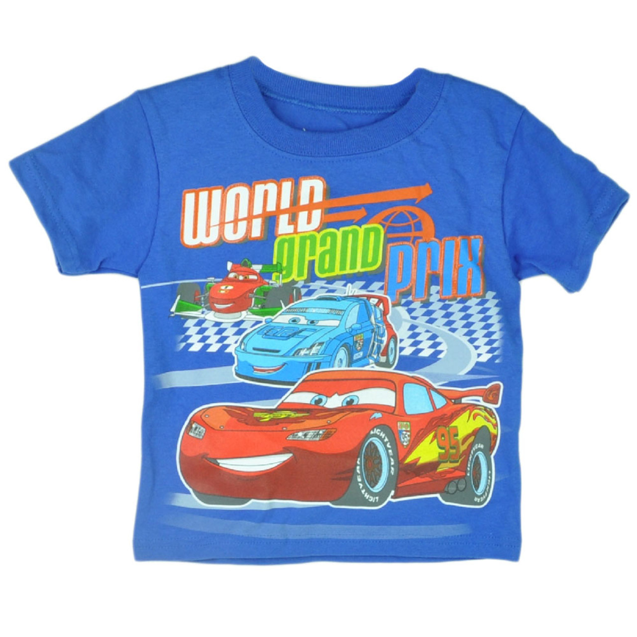 Disney Pixar Cars 2 Movie Animation World Grand Prix Boys Tshirt Tee Race Black