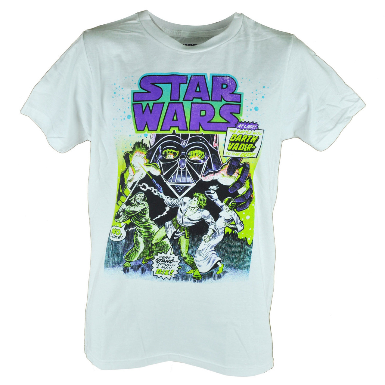 2197ca40 Fifth Sun Star Wars Distressed Darth Vader Fight Graphic White Tshirt Tee -  Cap Store Online.com