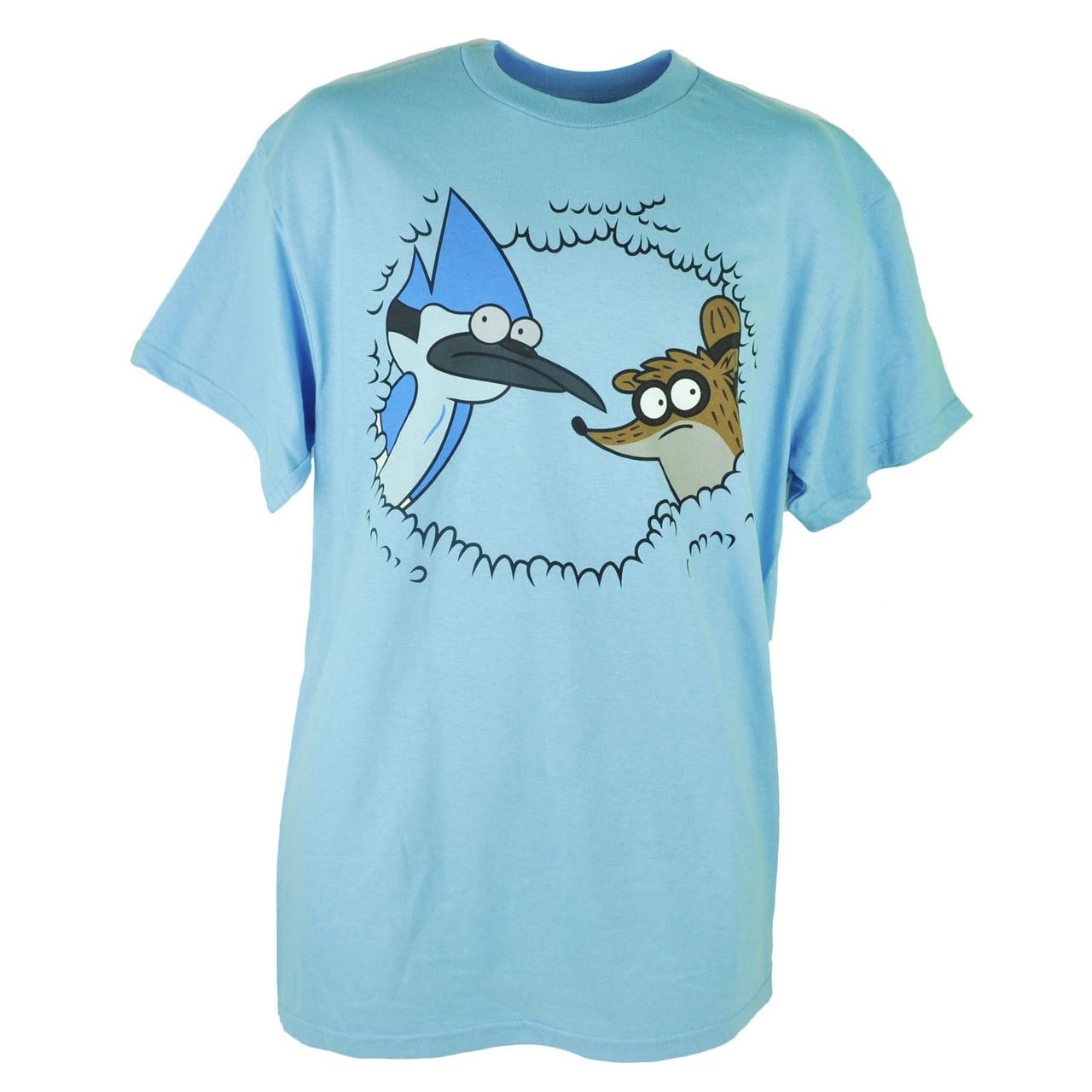 Cartoon Network Regular Show Mordecai Rigby Bush Hiding Blue Tshirt Tee