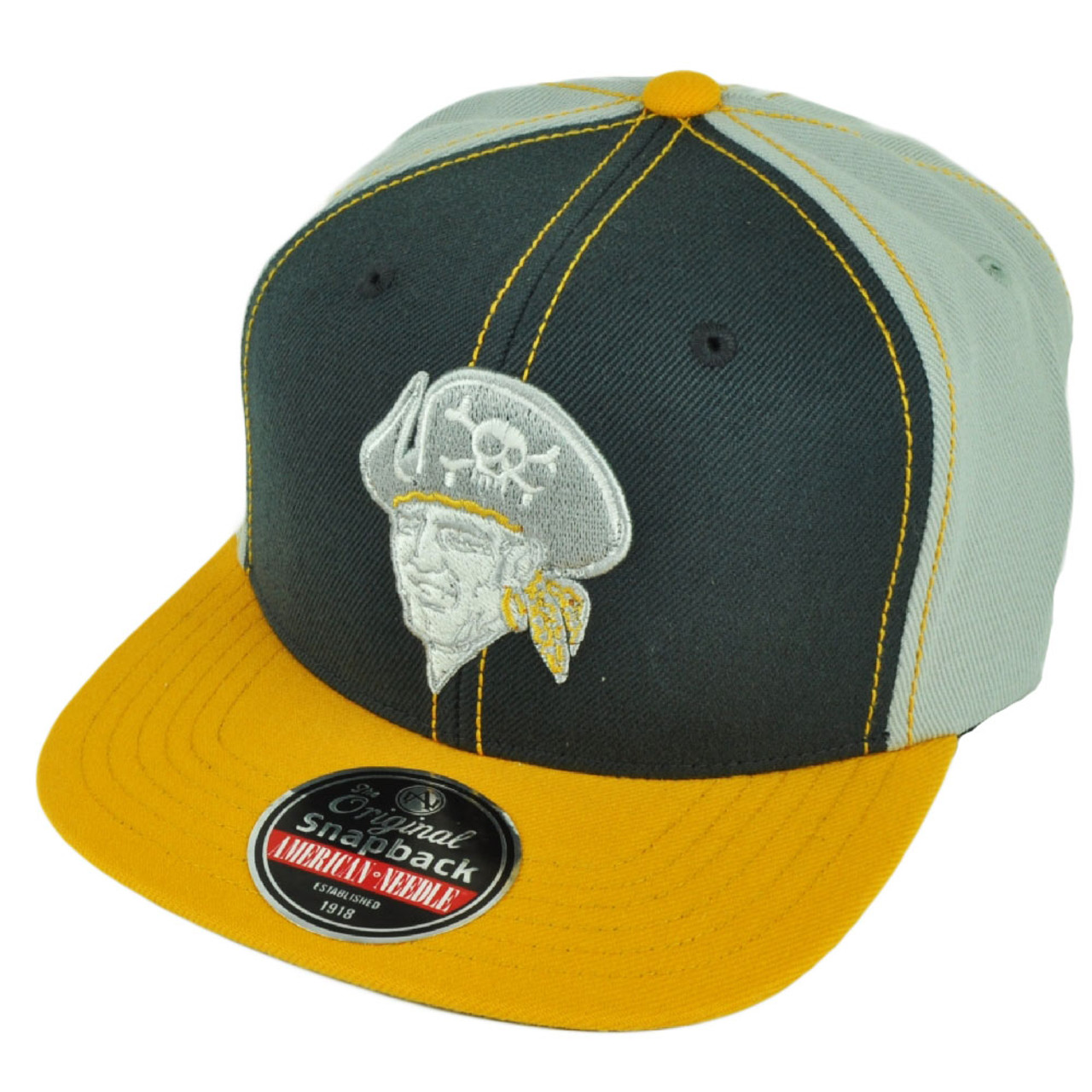 new product 1051e fa11a MLB American Needle Pittsburgh Pirates Snapback Grey Yellow Flat Bill Hat  Cap - Cap Store Online.com