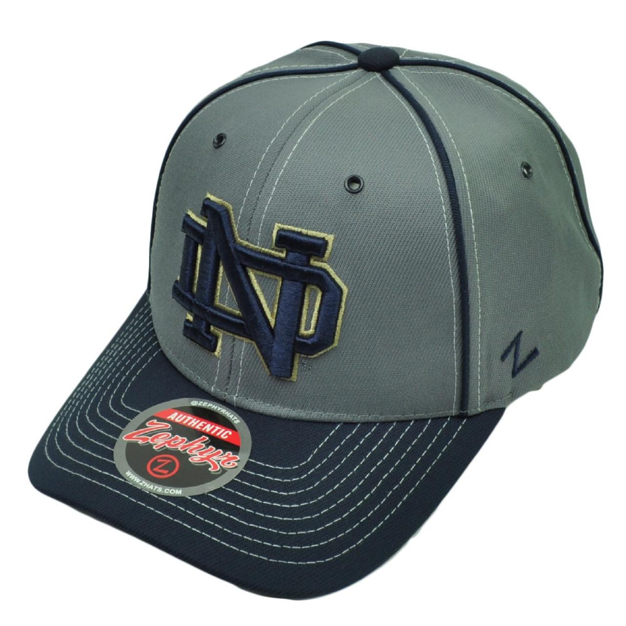 94da289d24 NCAA Zephyr Notre Dame Fighting Irish Wrath Hat Cap Gray Velcro Adjustable  Sport