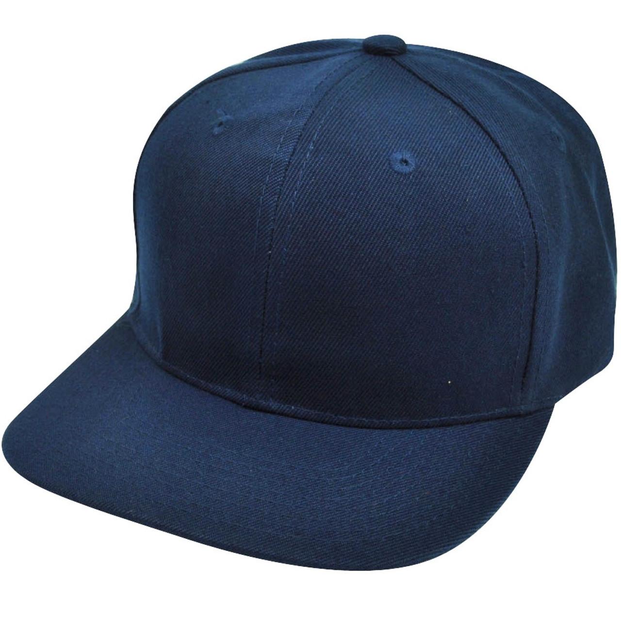 e80f07595 Blank Plain Navy Blue Snapback Flat Bill Solid Hat Cap Adjustable Acrylic  Classic