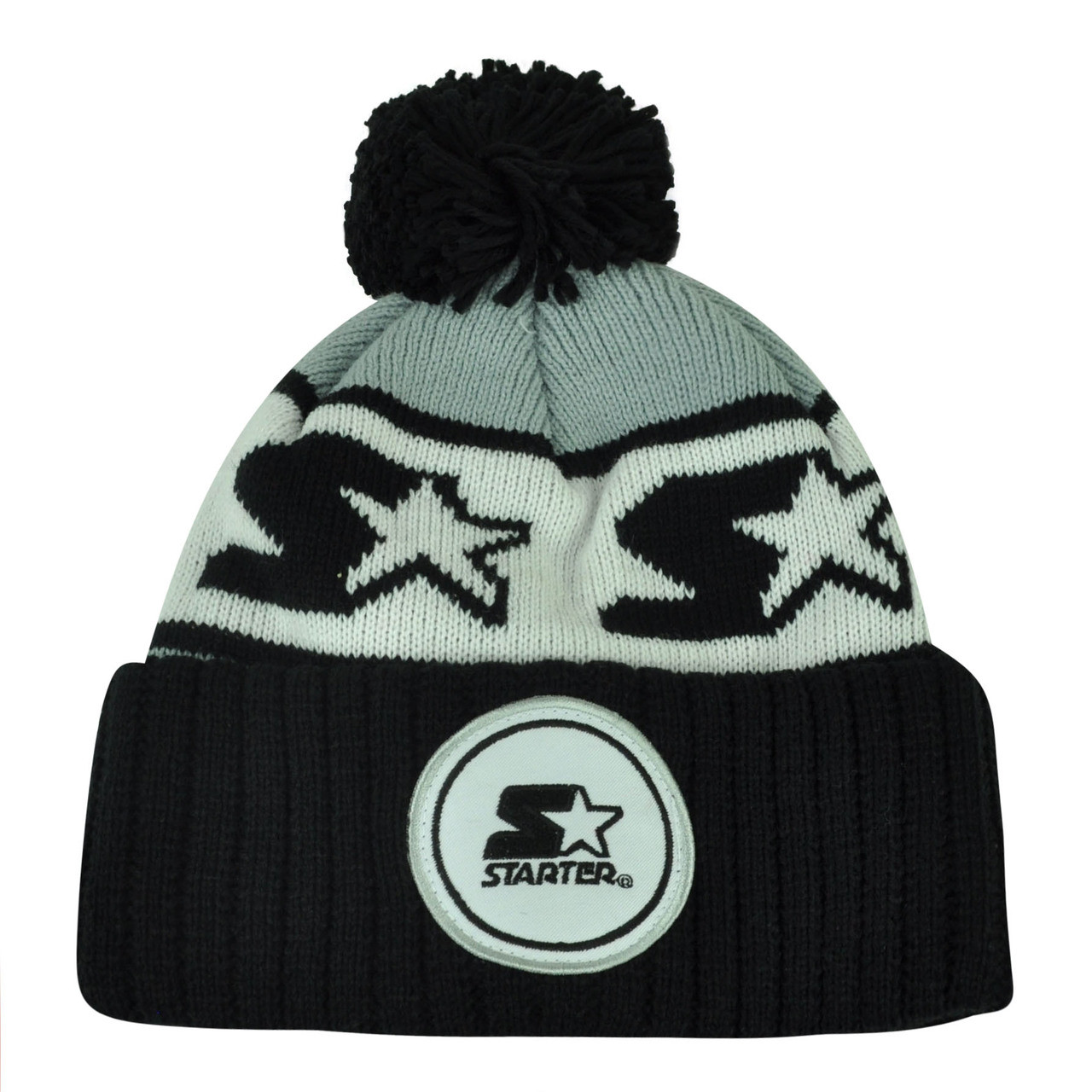 4312c2421847b Starter Blank Black Gray Pom Pom Beanie Knit Cuffed Toque Solid Plain Winter  - Cap Store Online.com
