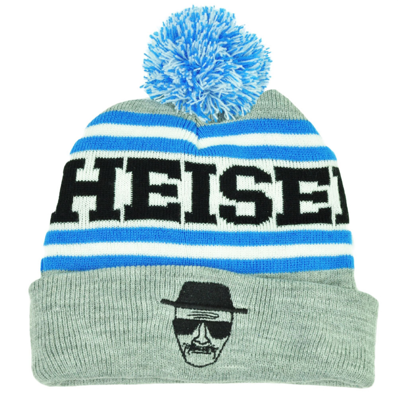 ec6d4bb73 Heisenberg Breaking Bad TV Series Knit Beanie Pom Pom Cuffed Toque Hat  Striped