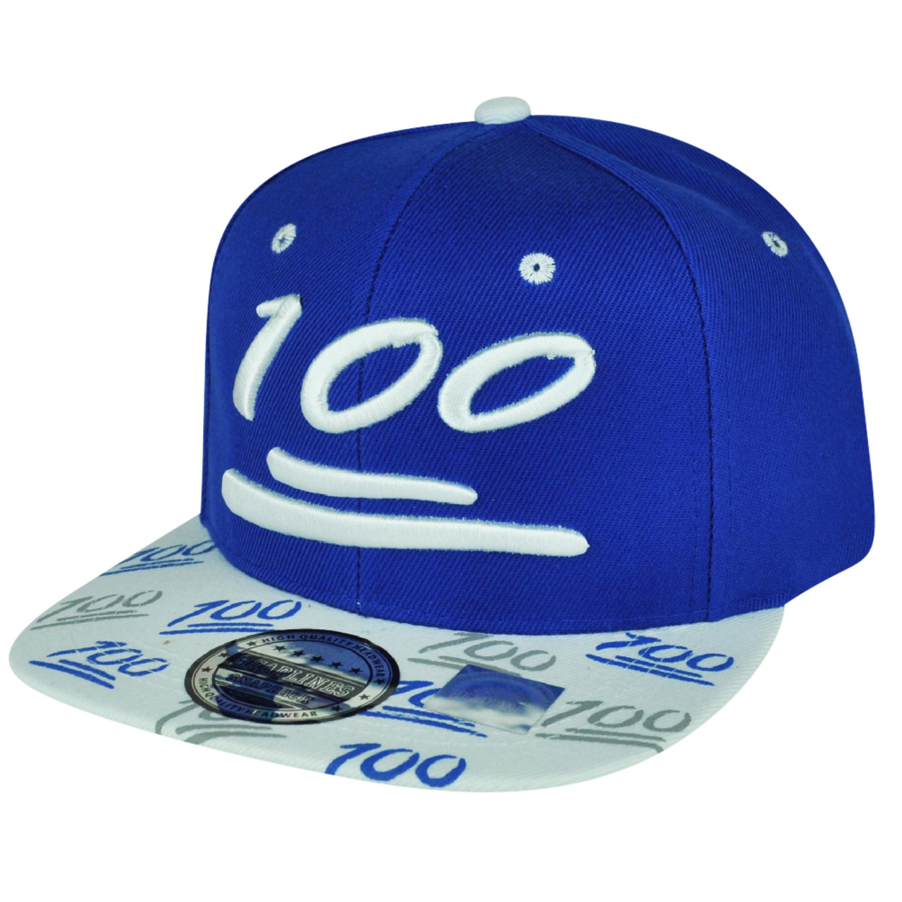 100 One Hundred Snapback Hat Cap Emoji Text Symbol Emoticons Blue