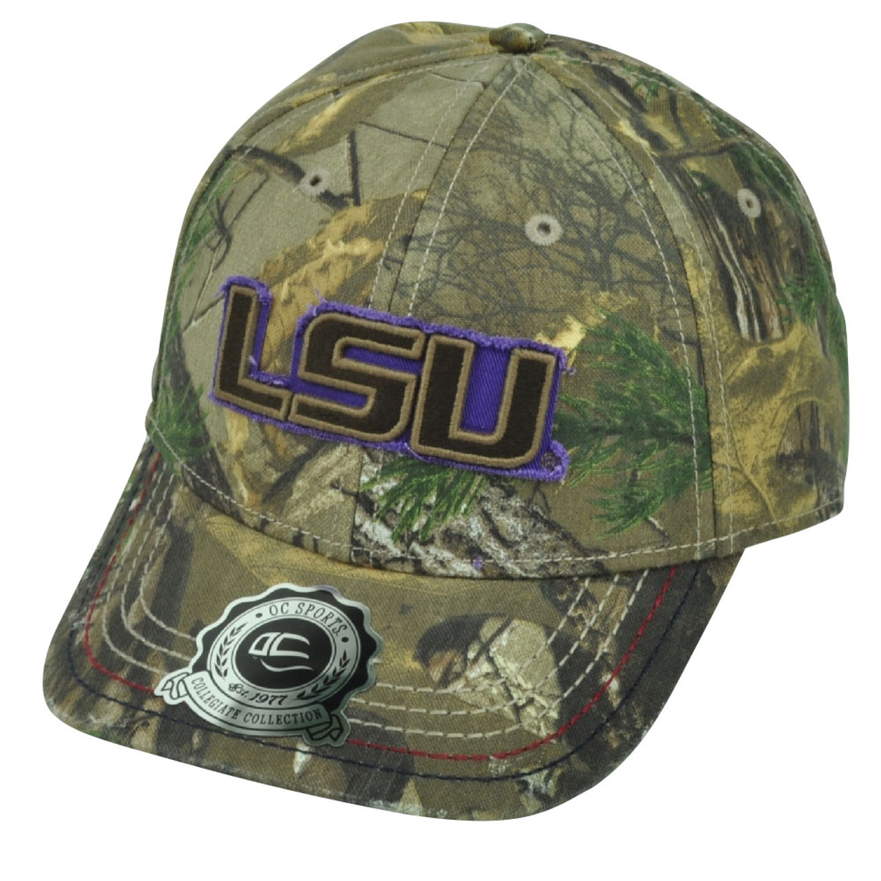 innovative design a2719 a28fc NCAA Louisiana State LSU Tigers Real Tree Camouflage Distressed Hat Cap
