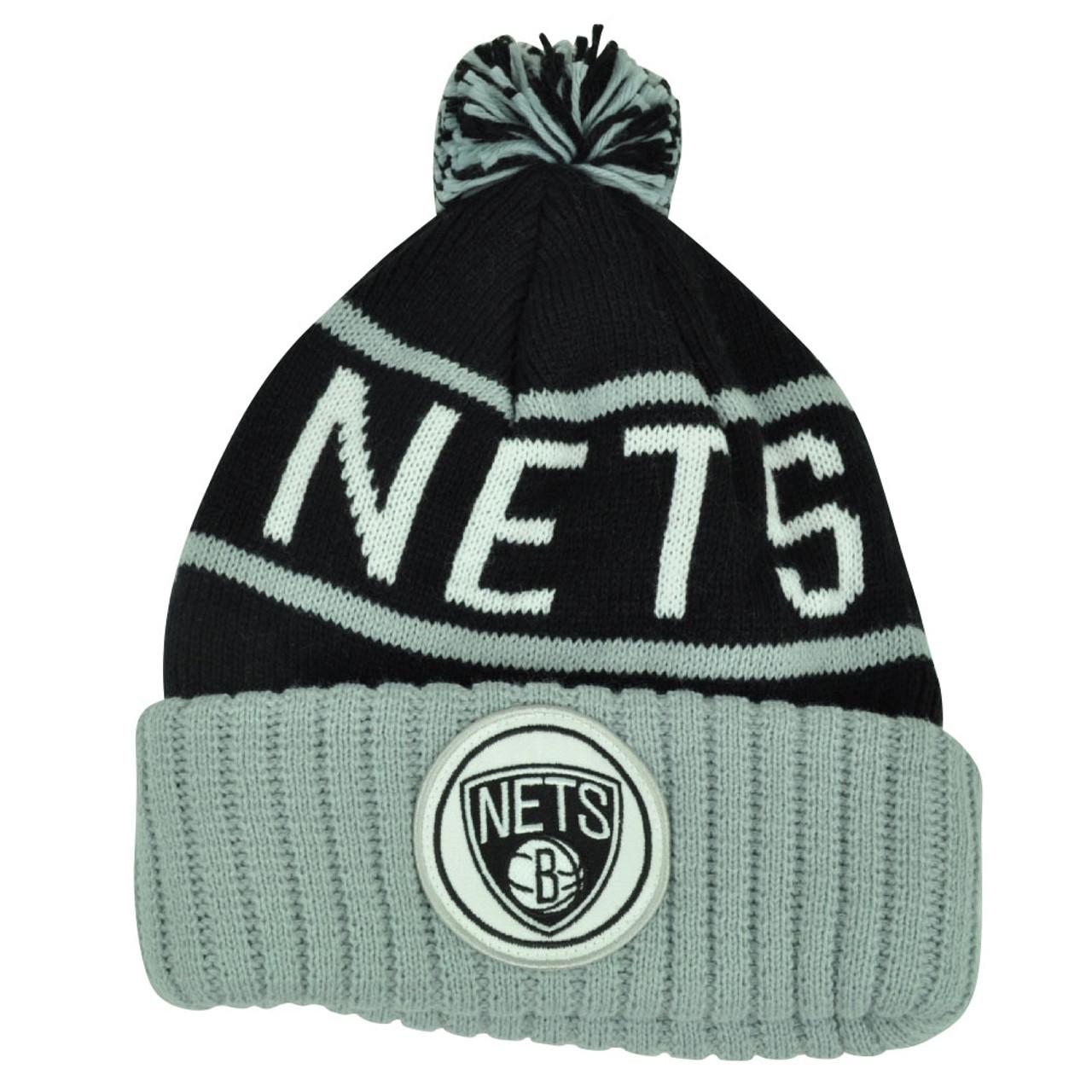 f563bb690 NBA Mitchell Ness KJ58 Brooklyn Nets Cuffed Pom Pom Knit Beanie Skully Hat  Grey
