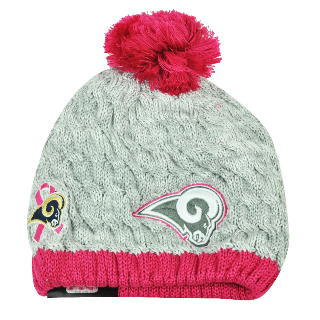 buy popular 921b3 4928e NFL New Era Breast Cancer Awareness Knit Beanie St Louis Rams Pink Womens  Hat - Cap Store Online.com