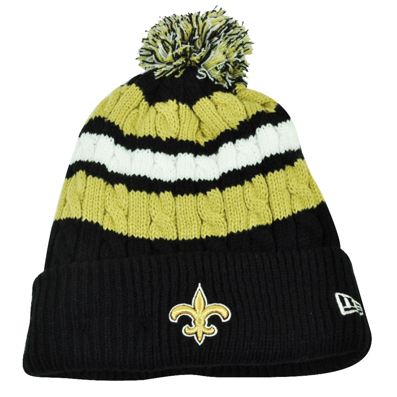 new style 9b572 966f6 NFL New Era Wintry Warm Womens Knit Beanie Striped Cuffed New Orleans  Saints Hat - Cap Store Online.com