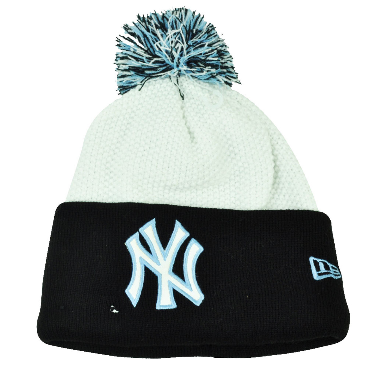 59e95b826a8958 MLB New Era Custom Cuffer New York Yankees Knit Beanie Pom Pom Toque White  Hat - Cap Store Online.com