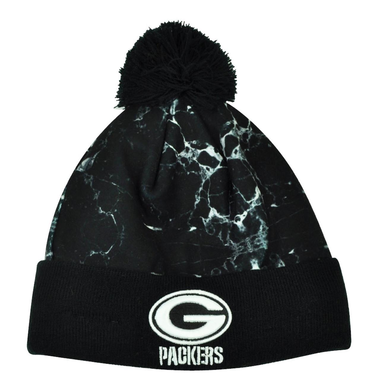 b79ae097f9b680 NFL New Era Marble Mix Green Bay Packers Cuffed Knit Beanie Toque Pom Pom  Black - Cap Store Online.com