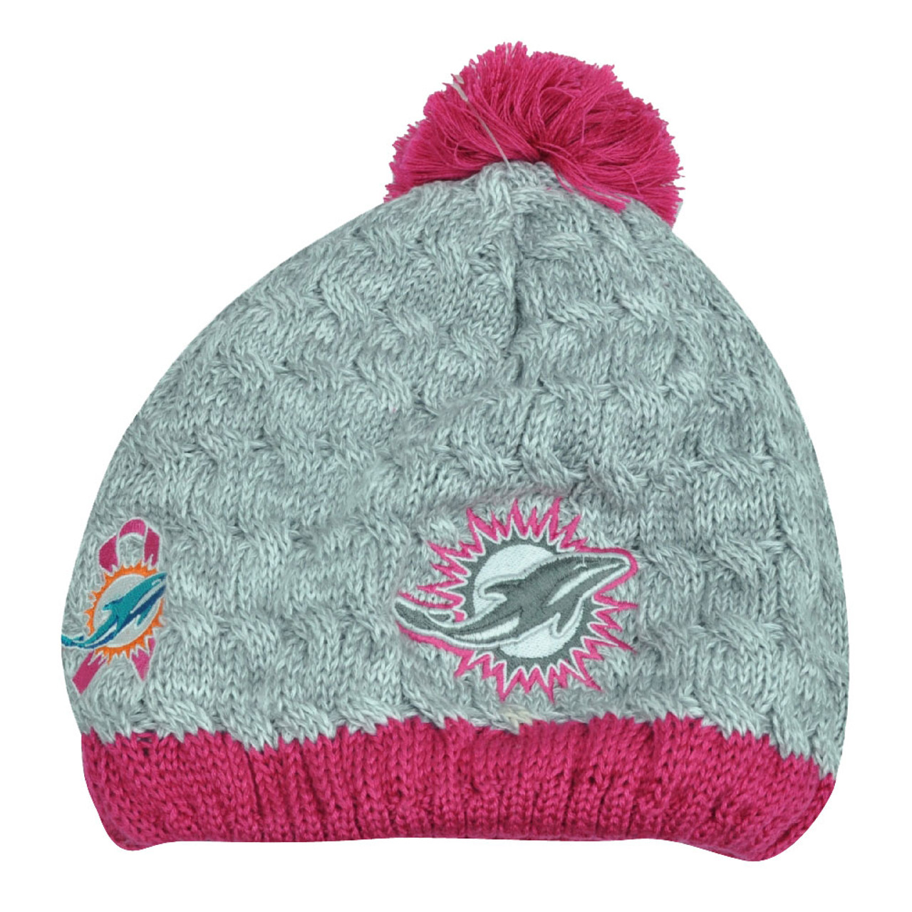 promo code 0fa02 46bc8 NFL New Era Breast Cancer Awareness Knit Beanie Miami Dolphins Pink Womens  Toque