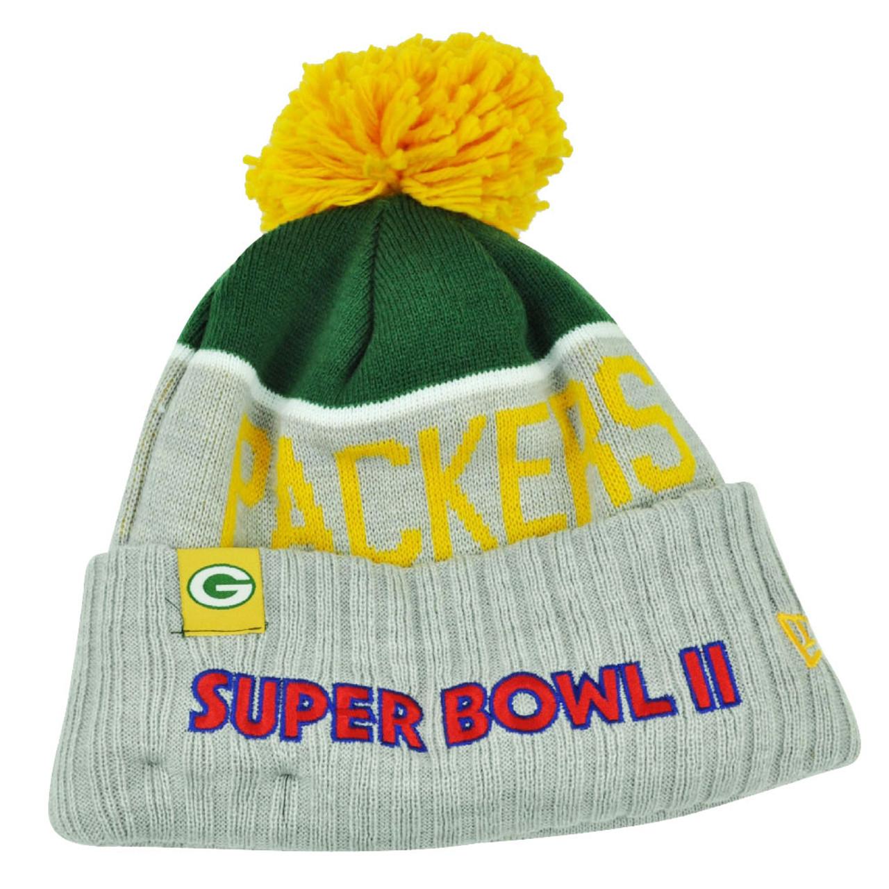 878b6af22c05f7 NFL New Era Super Bowl II Sport Knit Green Bay Packers Knit Beanie Cuffed  Hat - Cap Store Online.com