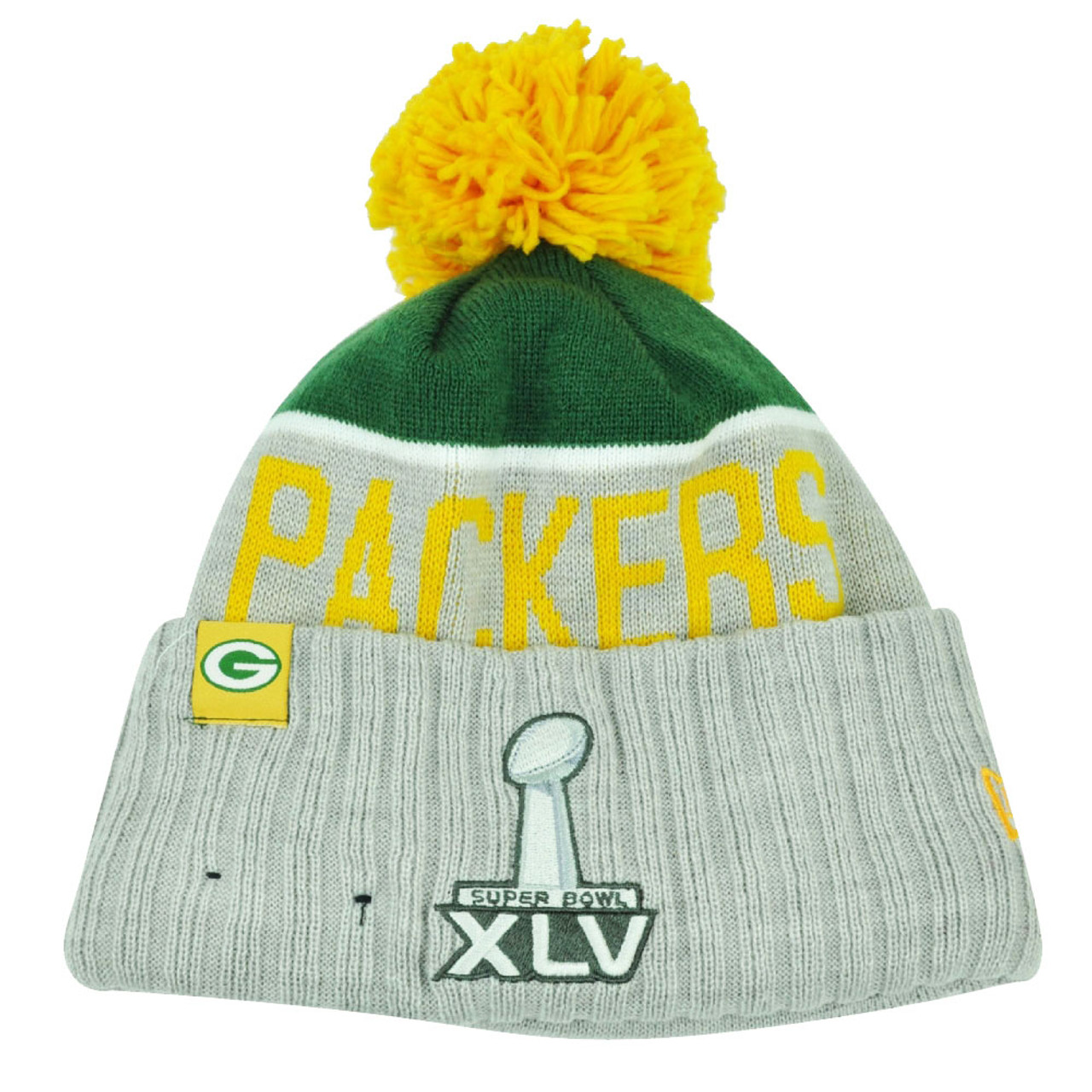 07e0dc8b5a8 NFL New Era Super Bowl XLV Sport Knit Green Bay Packers Knit Beanie Cuffed  Hat - Cap Store Online.com