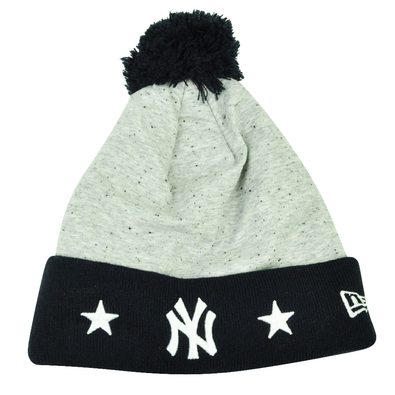 0762c508cd98ca MLB New Era Heather Spec New York Yankees Cuffed Knit Beanie Pom Pom Toque  Grey - Cap Store Online.com