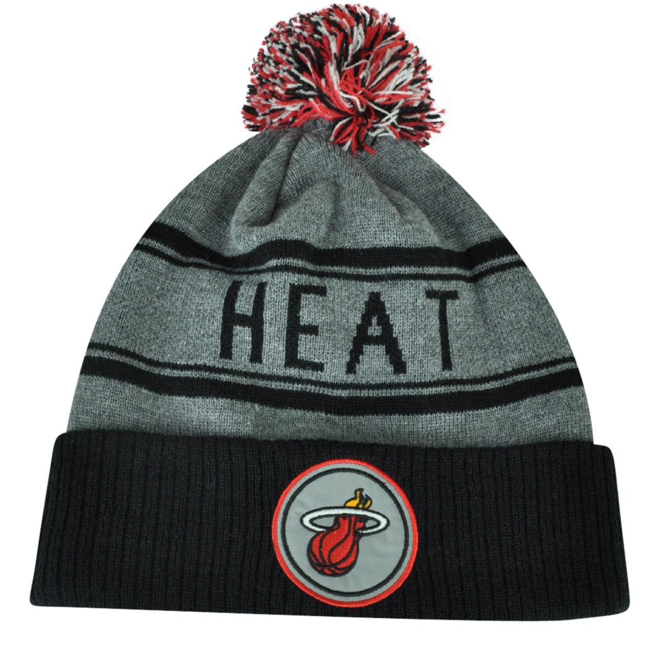 bfaf38ab NBA Adidas Miami Heat Cuffed Pom Pom Striped Knit Beanie Hat Toque Gray  Winter - Cap Store Online.com