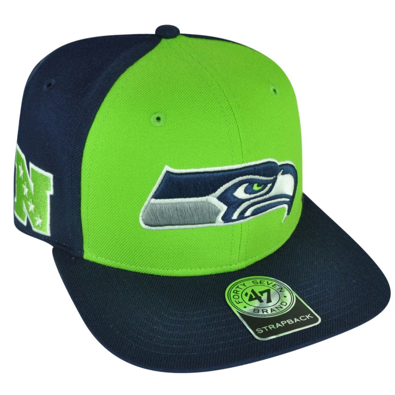 f05a90d82 NFL '47 Brand Forty Seven Seattle Seahawks Super Move Strapback Flat Bill  Hat Cap