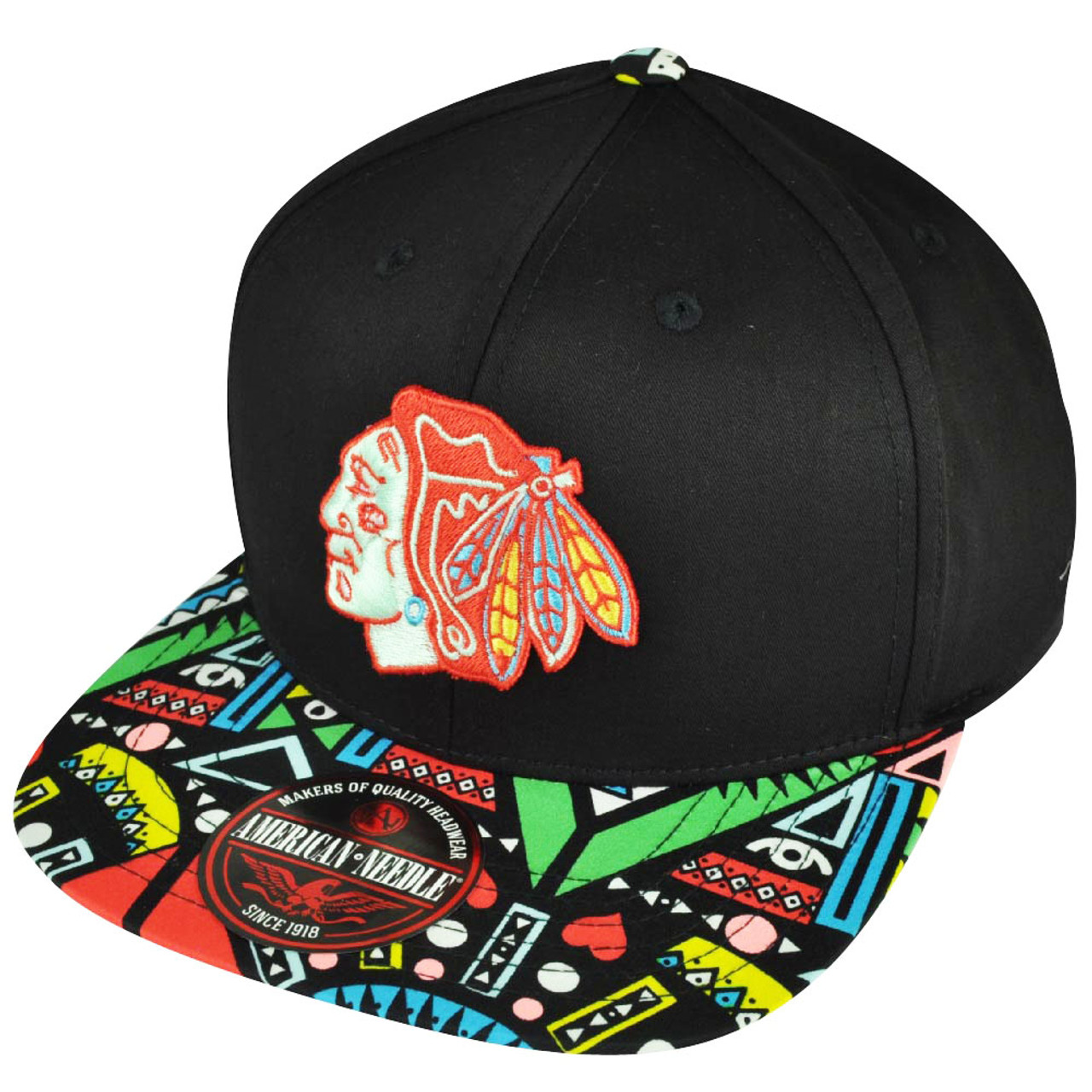 new concept 62ae0 a1f97 NHL American Needle Chicago Blackhawks Hockey Black Aztec Clip Buckle Hat  Cap
