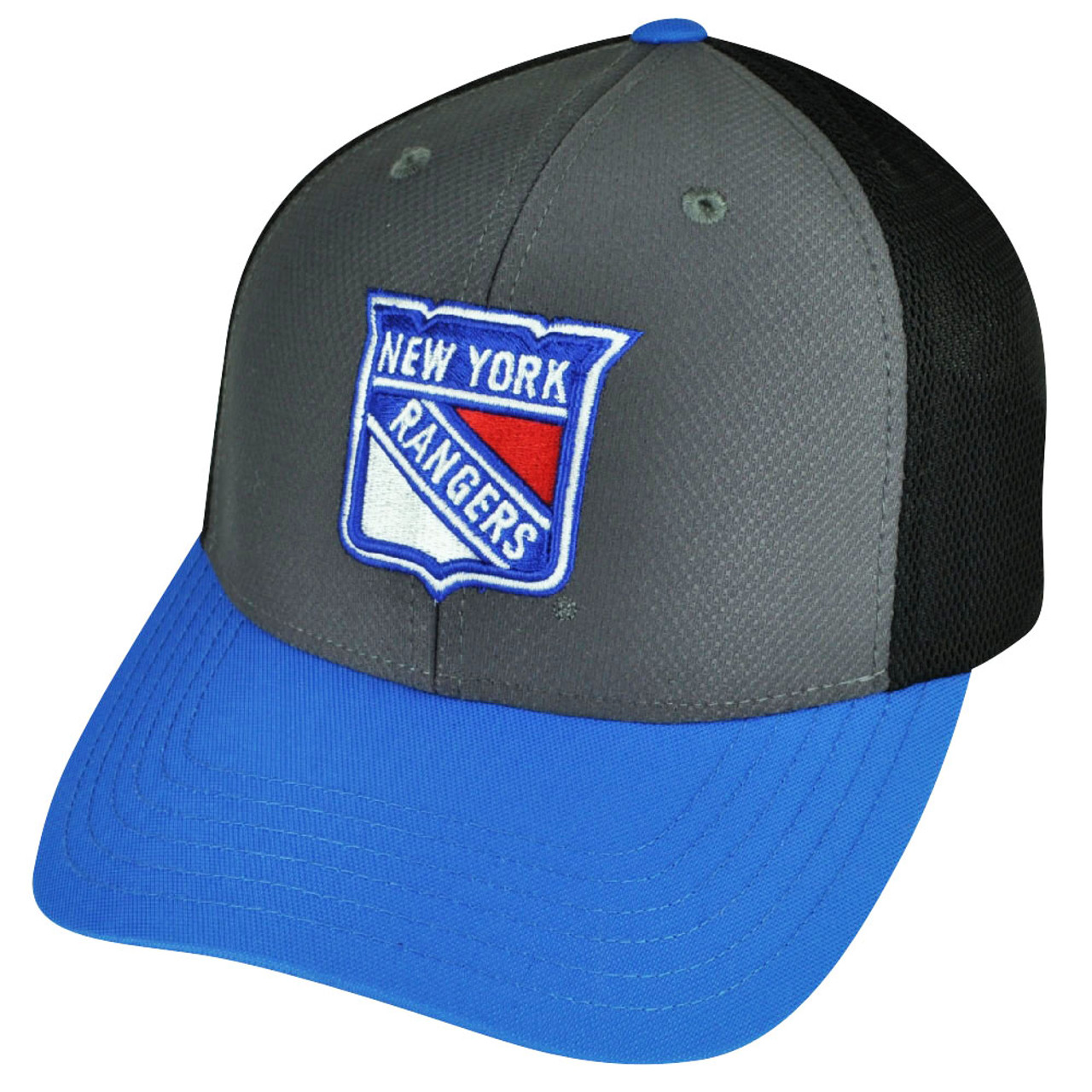 check out e9a55 87c8d NHL American Needle New York Rangers Snapback Hat Cap Gray Blue Breathable  Mesh