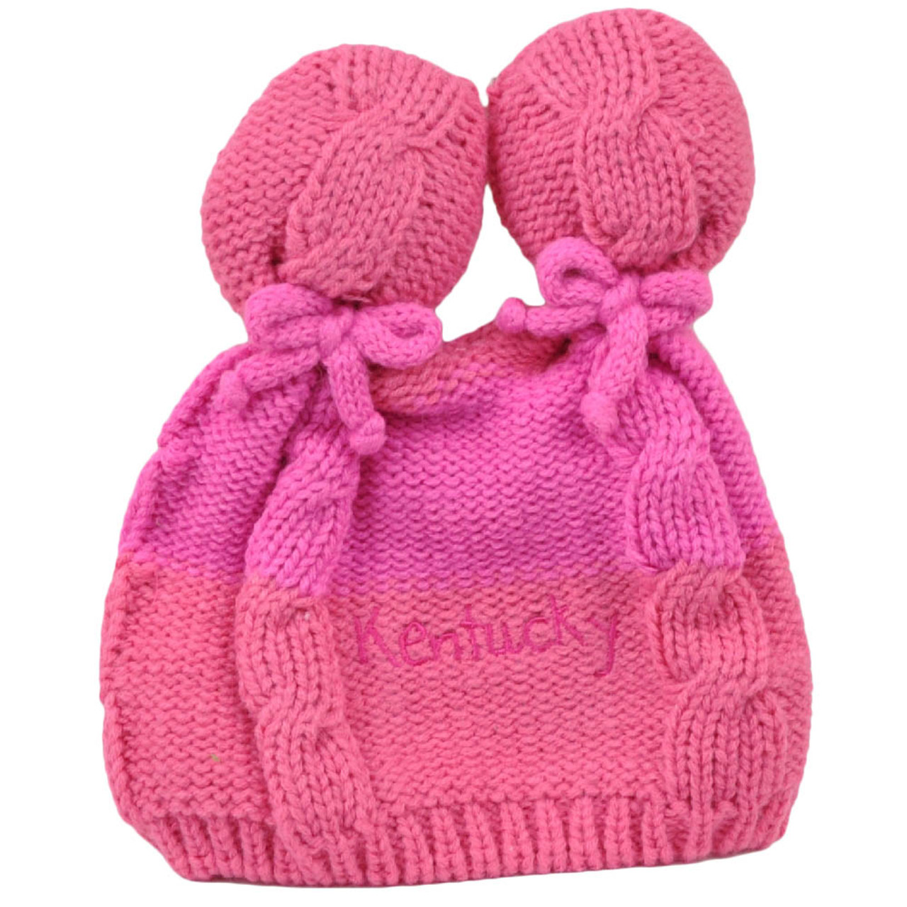 2567b15beb9 Kentucky State Infant Striped Knit Beanie Pink Crochet Ear Ball Hat USA  America